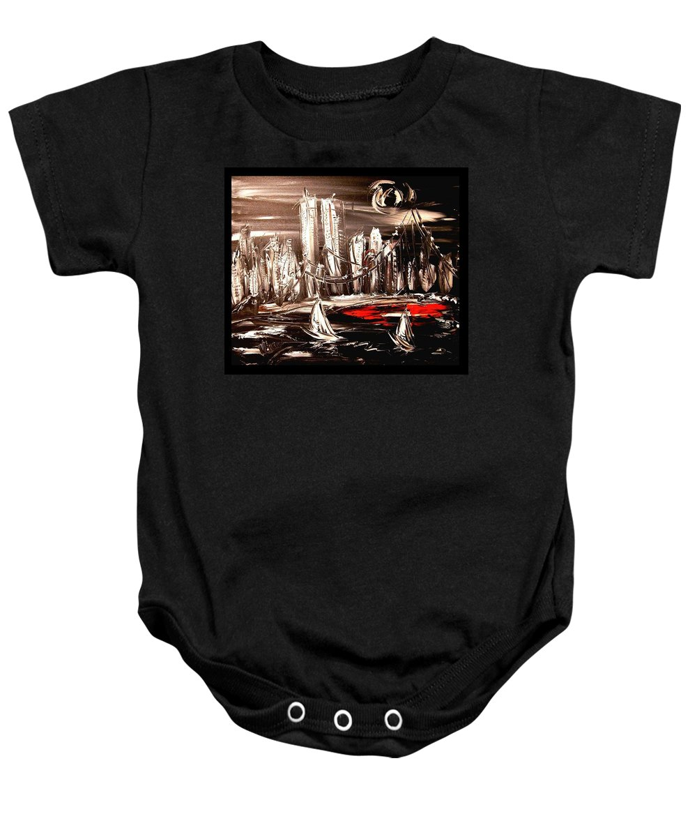 Baby Onesie featuring the painting New York by Mark Kazav