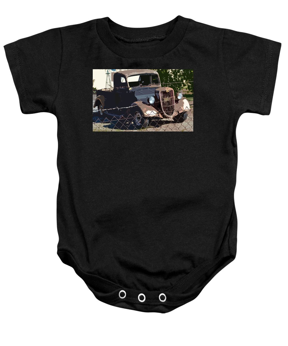 1936 Ford. Paintography Baby Onesie featuring the photograph '36 Ford by Bill Owen