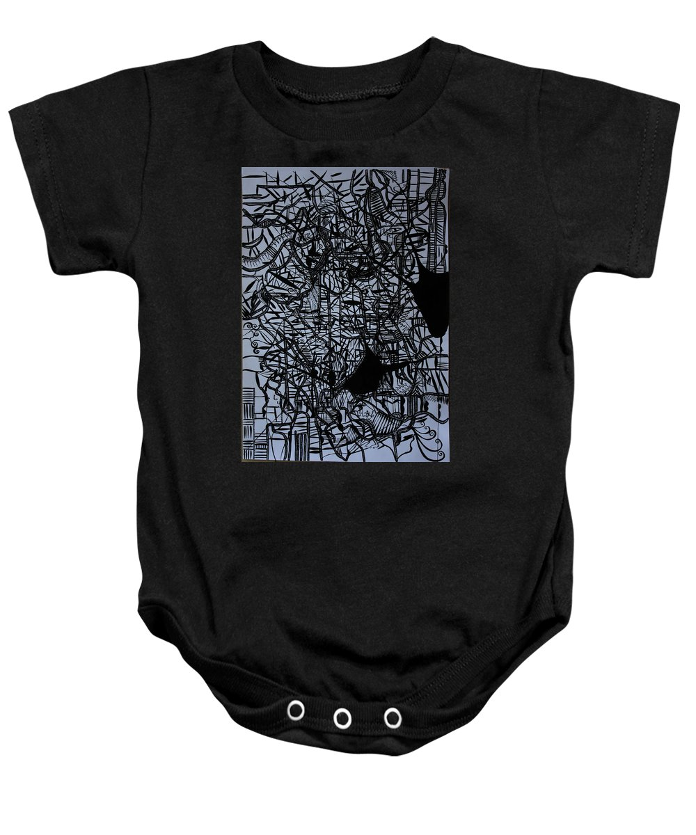 Jesus Baby Onesie featuring the drawing Kintu And Nambi by Gloria Ssali