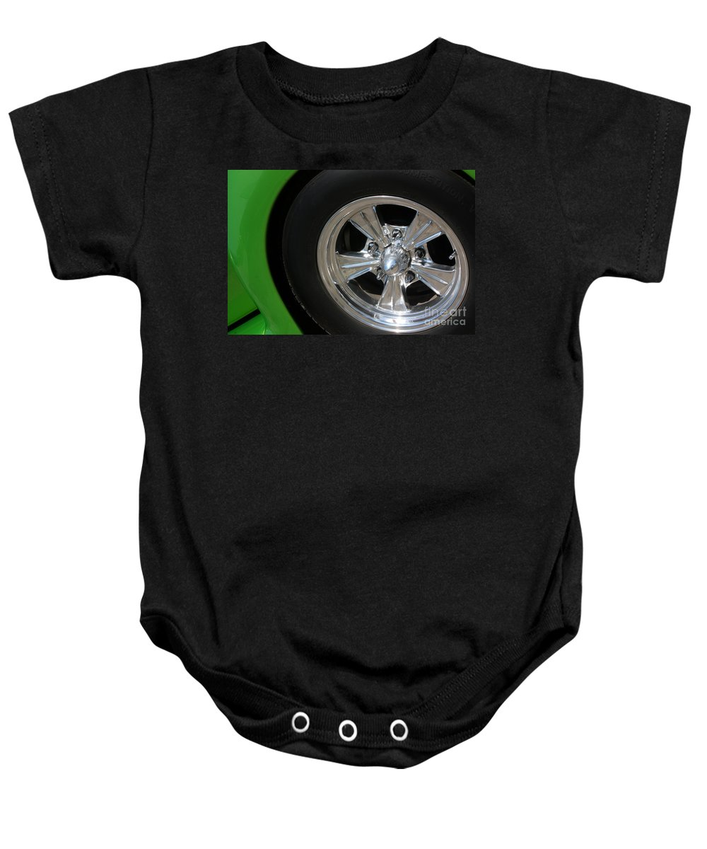 1940 Baby Onesie featuring the photograph 40 Ford-driver Rear Wheel 2-8577 by Gary Gingrich Galleries
