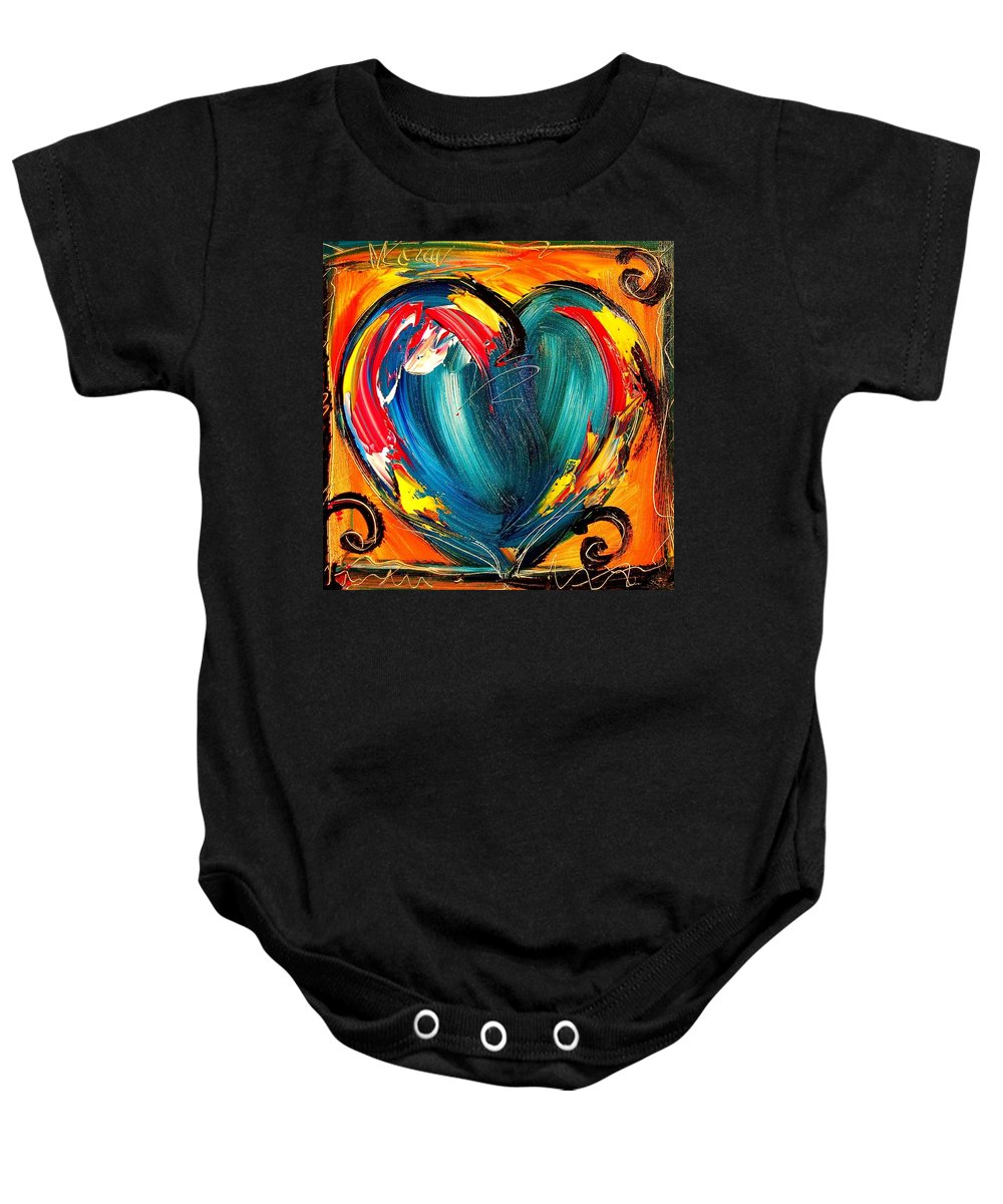 Baby Onesie featuring the painting Hearts by Mark Kazav
