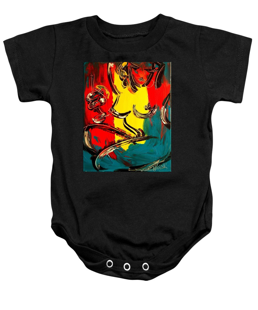 Music Jazz Piano Red Landscape Framed Prints Baby Onesie featuring the mixed media Nude by Mark Kazav