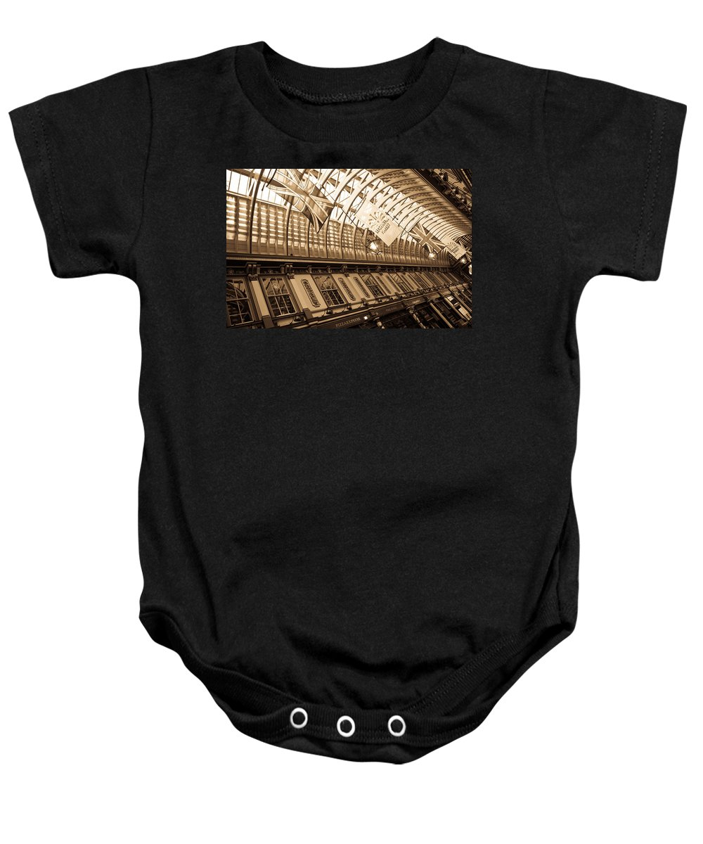 Leadenhall Baby Onesie featuring the photograph Leadenhall Market London by David Pyatt