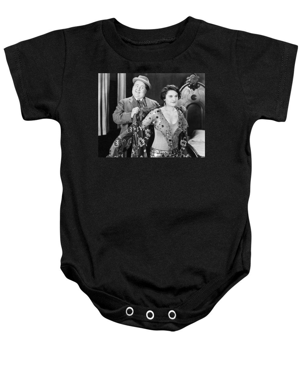 -ecq- Baby Onesie featuring the photograph Silent Still: Man & Woman by Granger