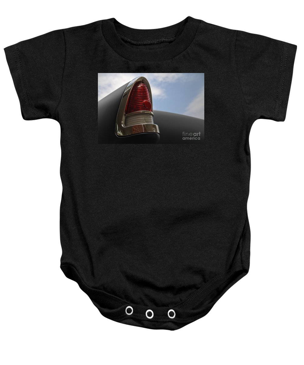 1955 Chevrolet Baby Onesie featuring the photograph '55 Tail by Dennis Hedberg