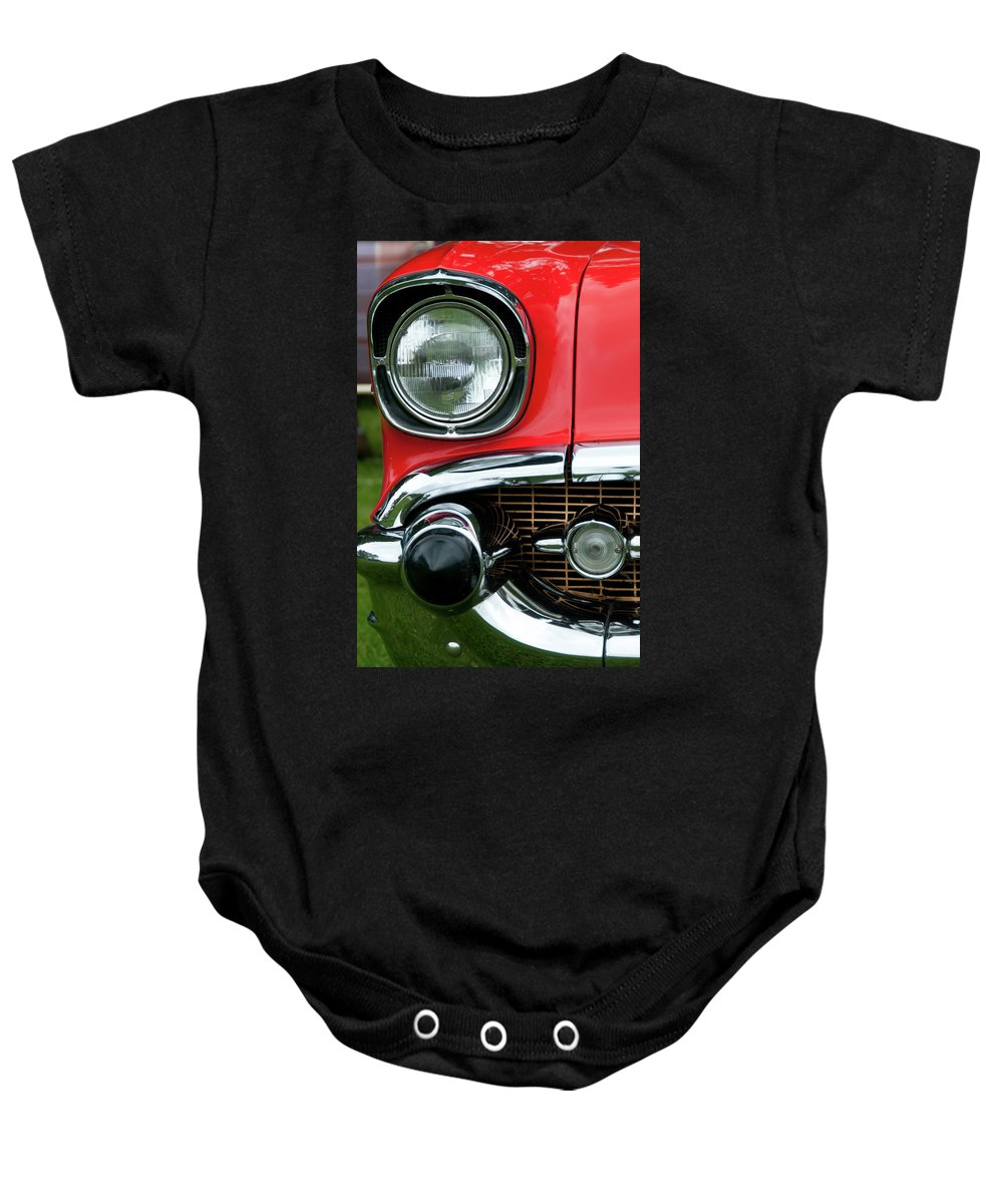 1957 Chevy Baby Onesie featuring the photograph 57 Chevy Right Front 8561 by Guy Whiteley
