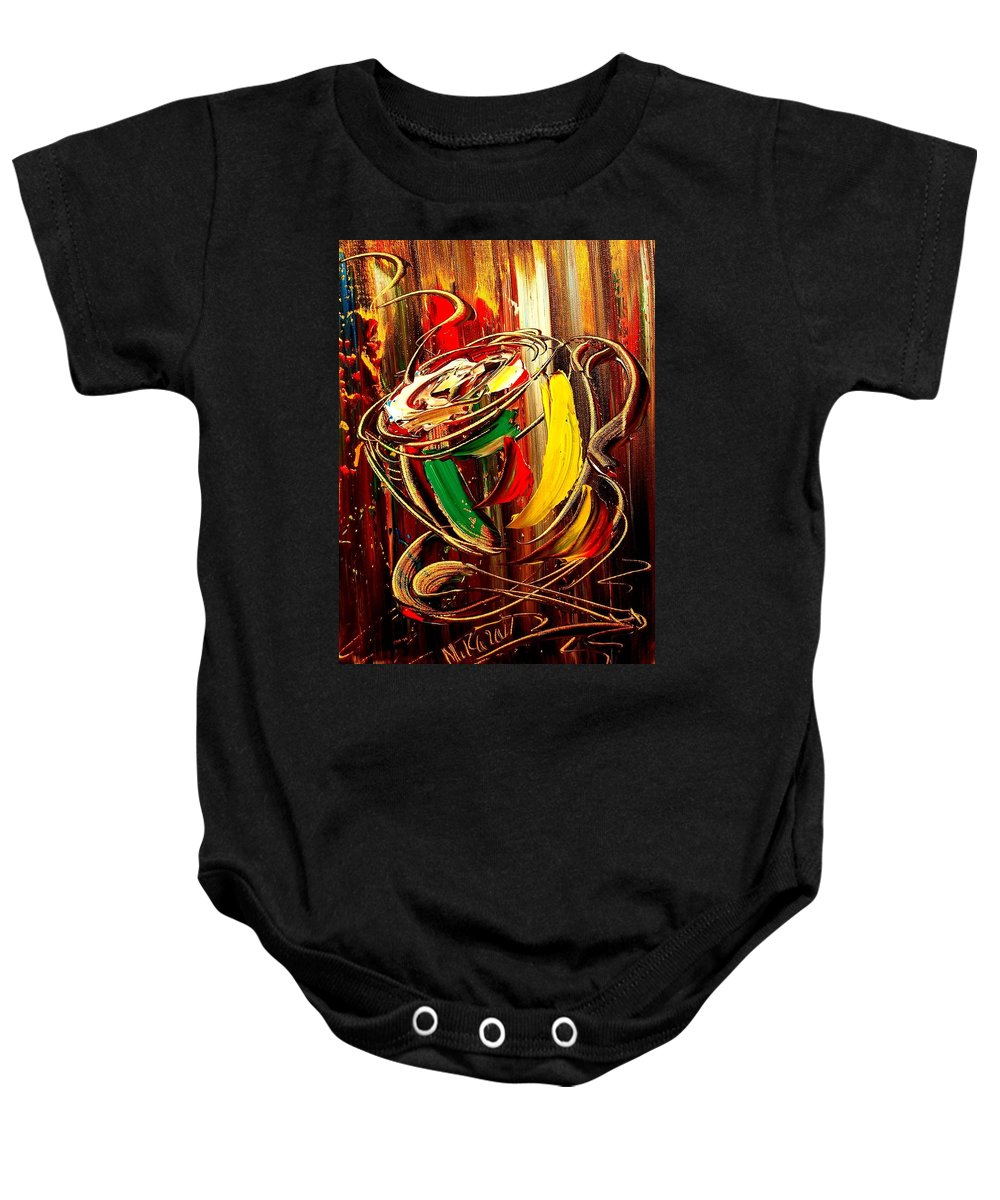 Music Jazz Piano Red Landscape Framed Prints Baby Onesie featuring the mixed media Coffee by Mark Kazav