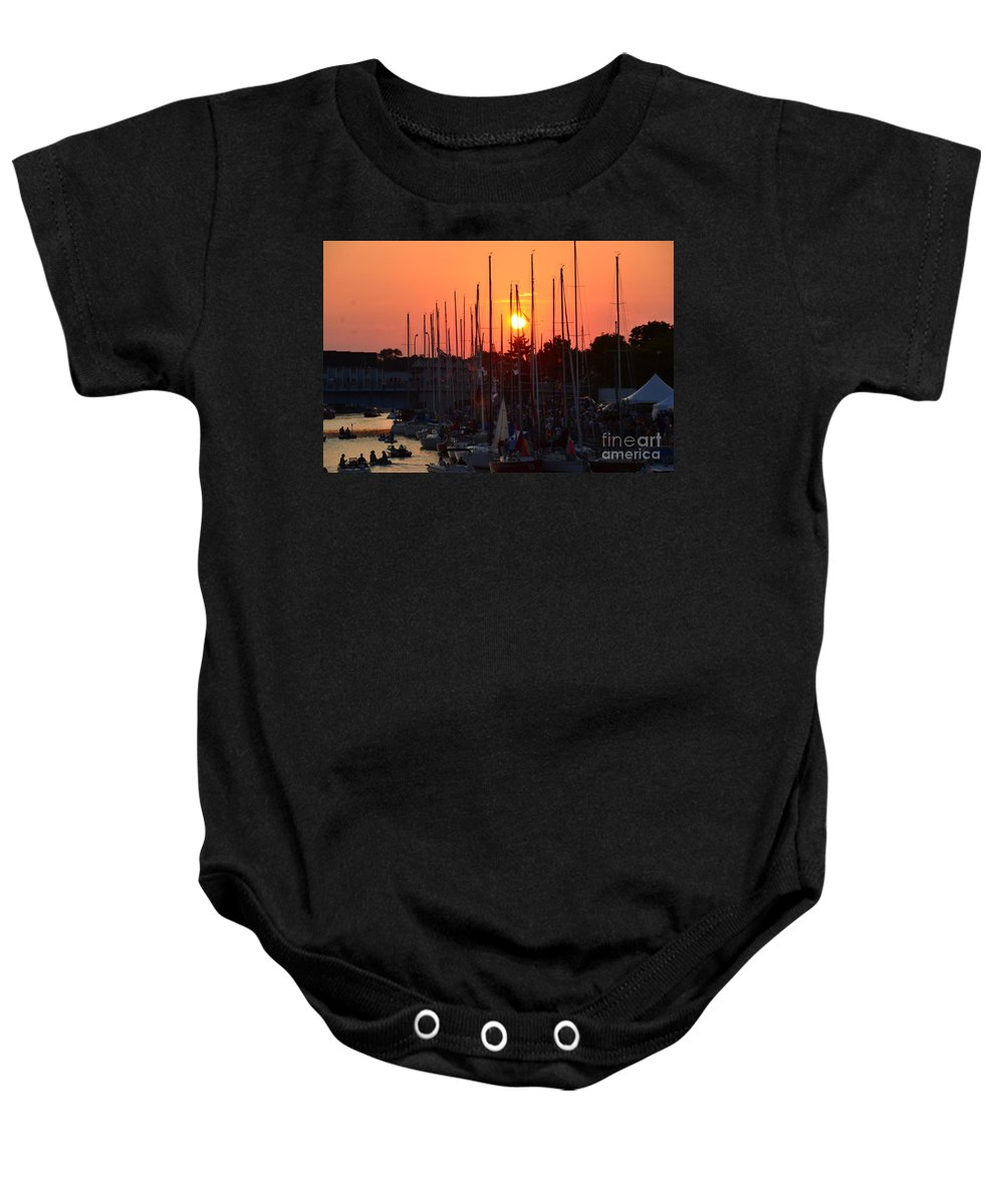 Sailboats Baby Onesie featuring the photograph Mackinac Race by Randy J Heath