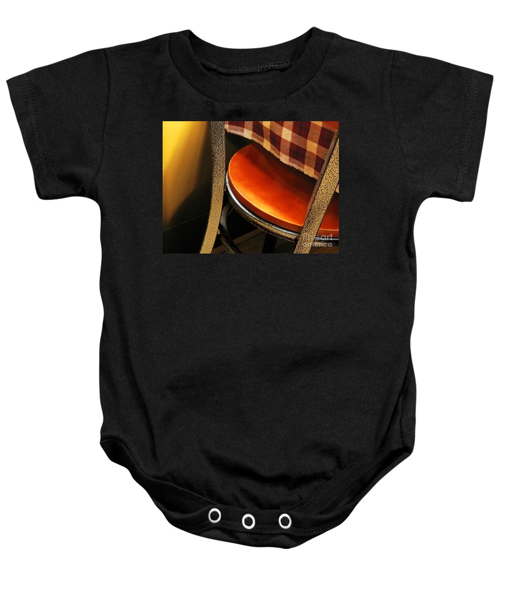 Vivid Color Baby Onesie featuring the photograph A Chair by Ellen Cotton