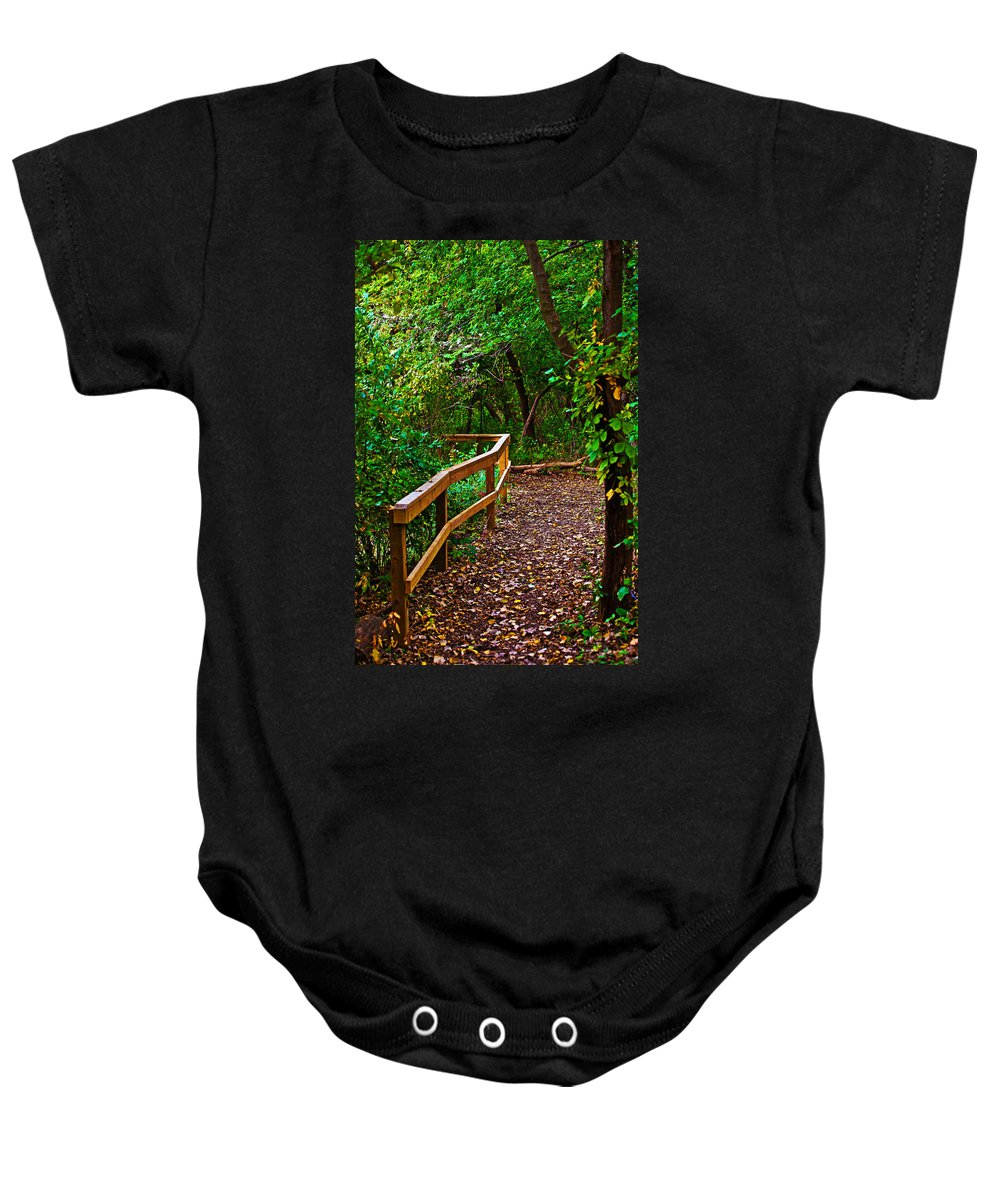 Fall Baby Onesie featuring the photograph A Fall Walk by Edward Peterson