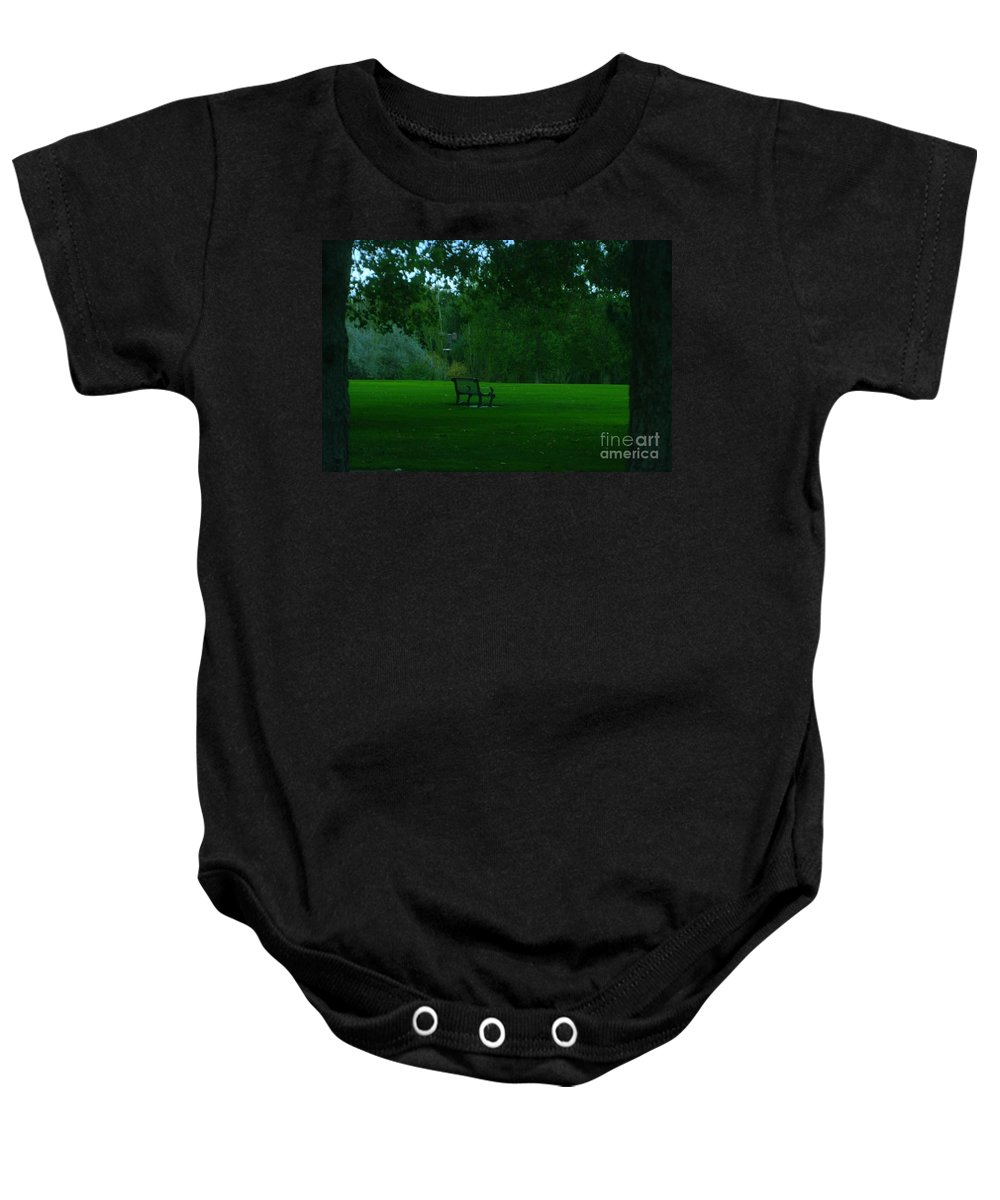 Autumn. Bench Baby Onesie featuring the photograph A Lonely Autumn Bench by Jeff Swan