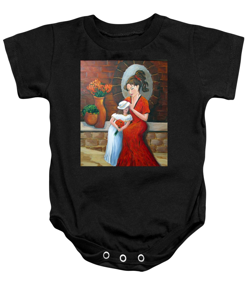 Mother Baby Onesie featuring the painting A Mothers Love by Rosie Sherman