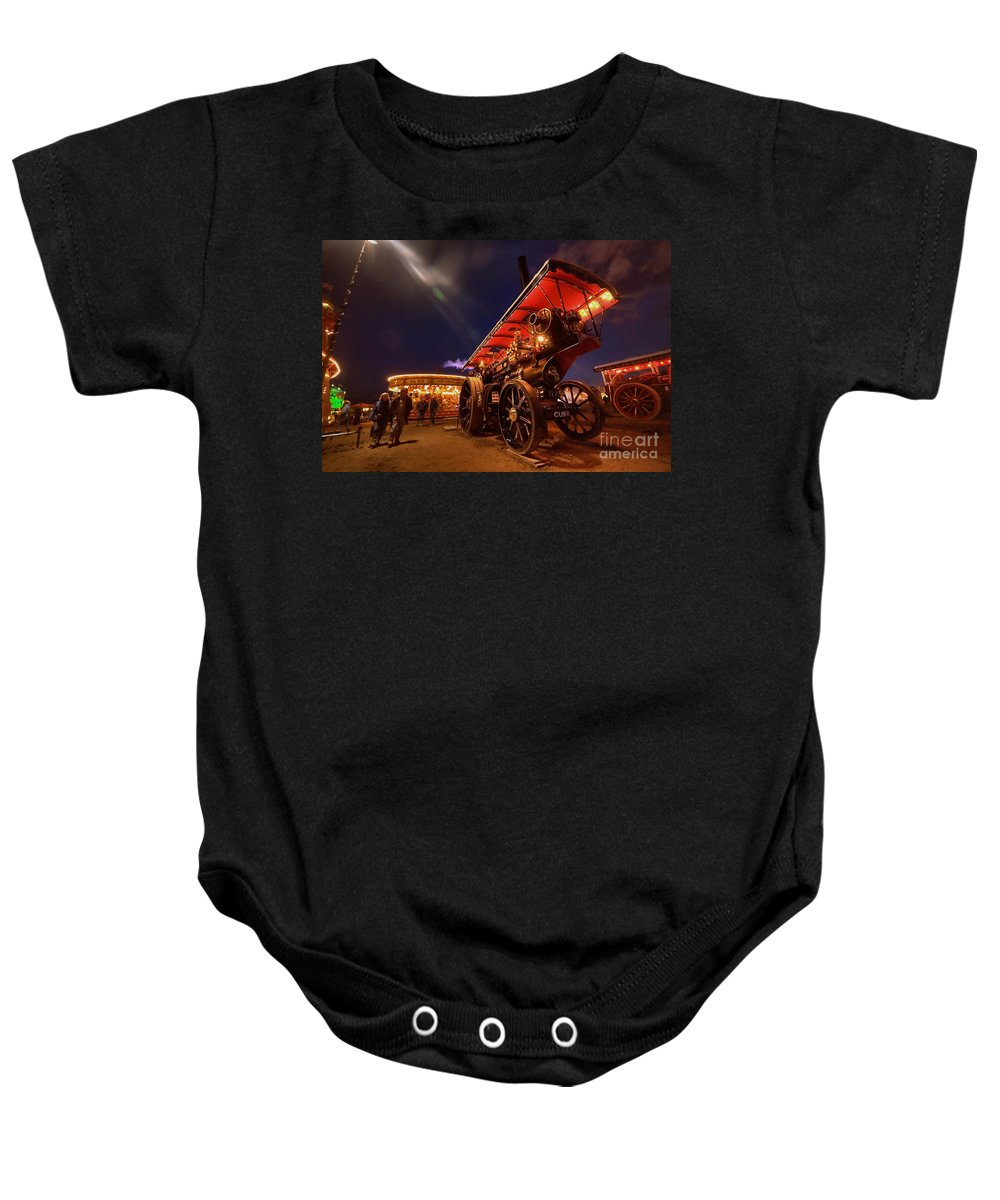 Great Baby Onesie featuring the photograph A Night Of Steam by Rob Hawkins