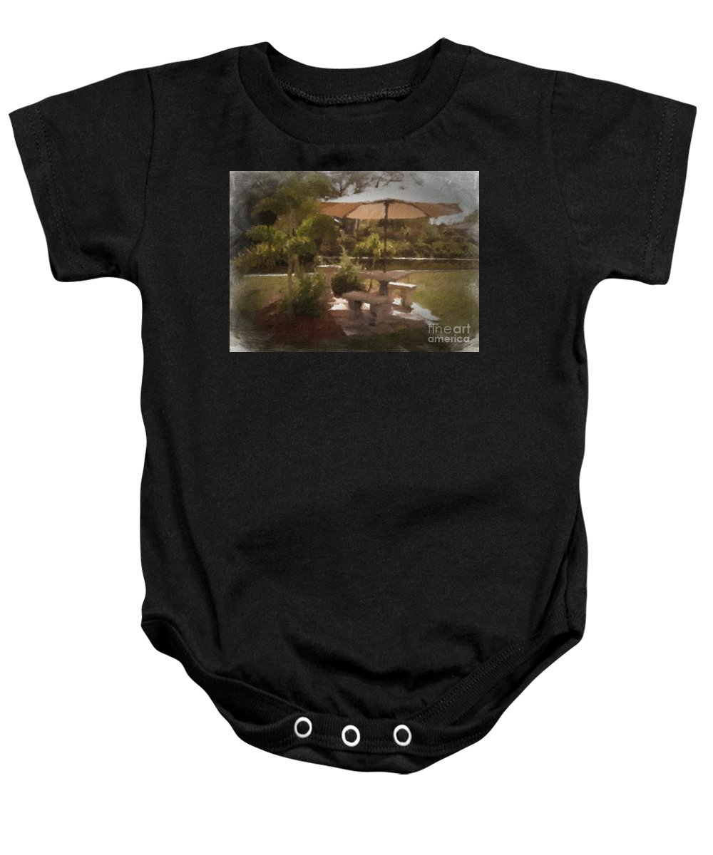 Tan Baby Onesie featuring the photograph A Peaceful Spot by Peggy Starks