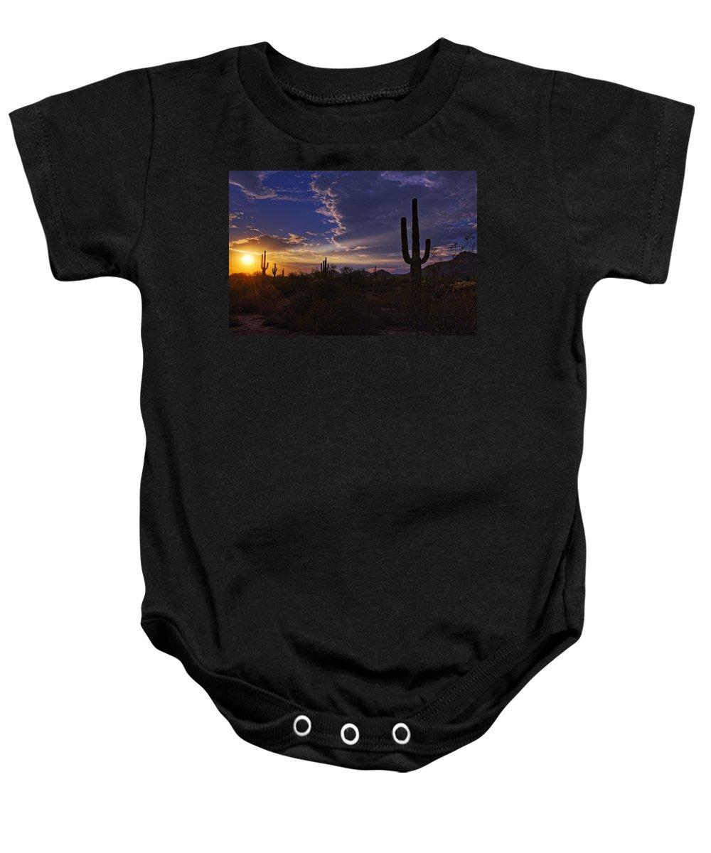 Sunset Baby Onesie featuring the photograph A Saguaro Sunset by Saija Lehtonen