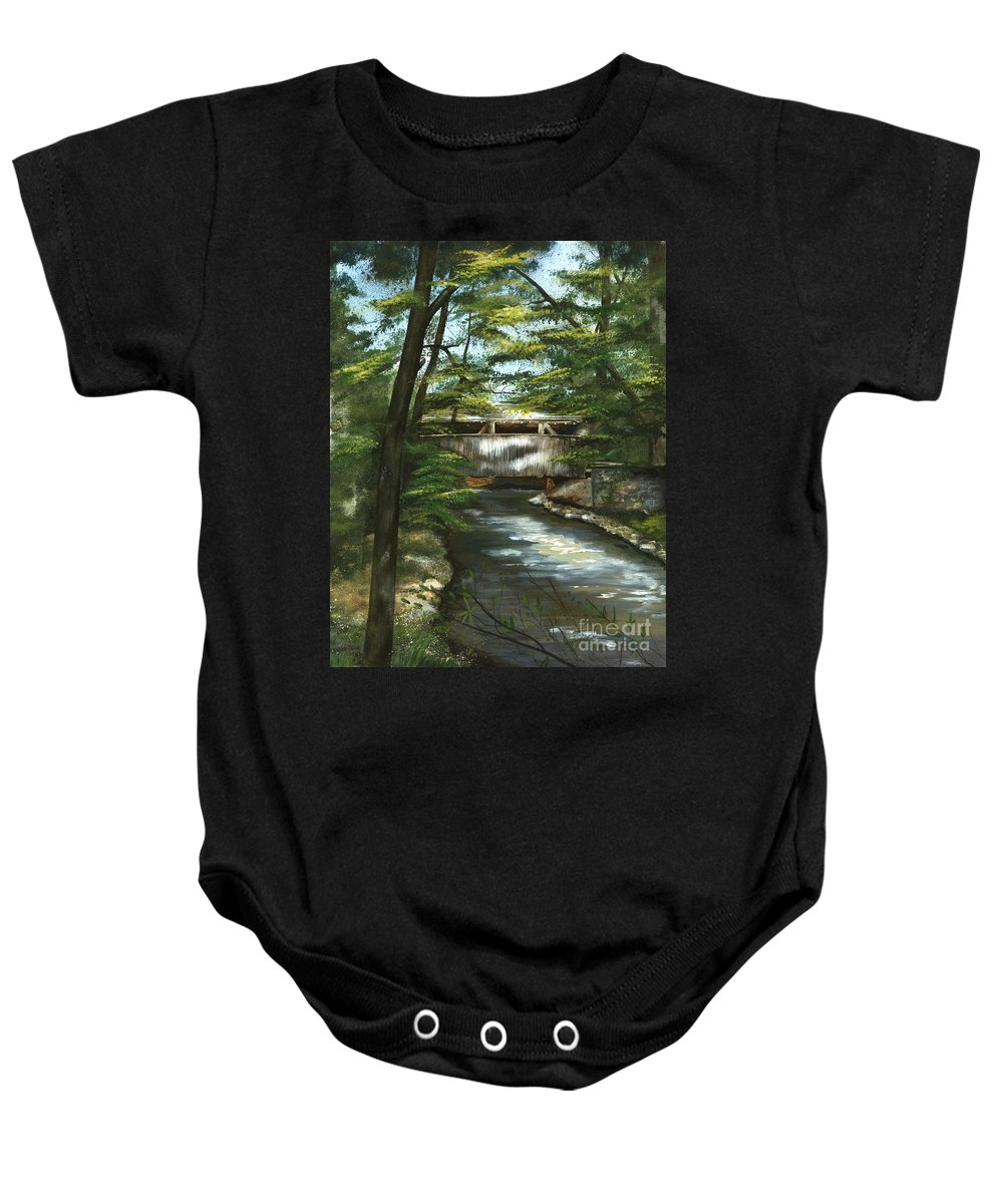 Covered Bridge Baby Onesie featuring the painting A Summer Walk Along The Creek by Nancy Patterson