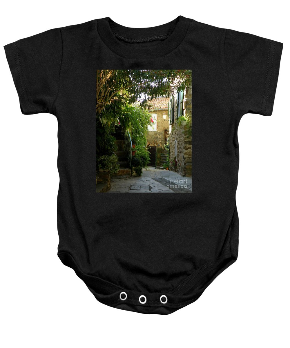 Provence Baby Onesie featuring the photograph A Sweet Little Street by Lainie Wrightson