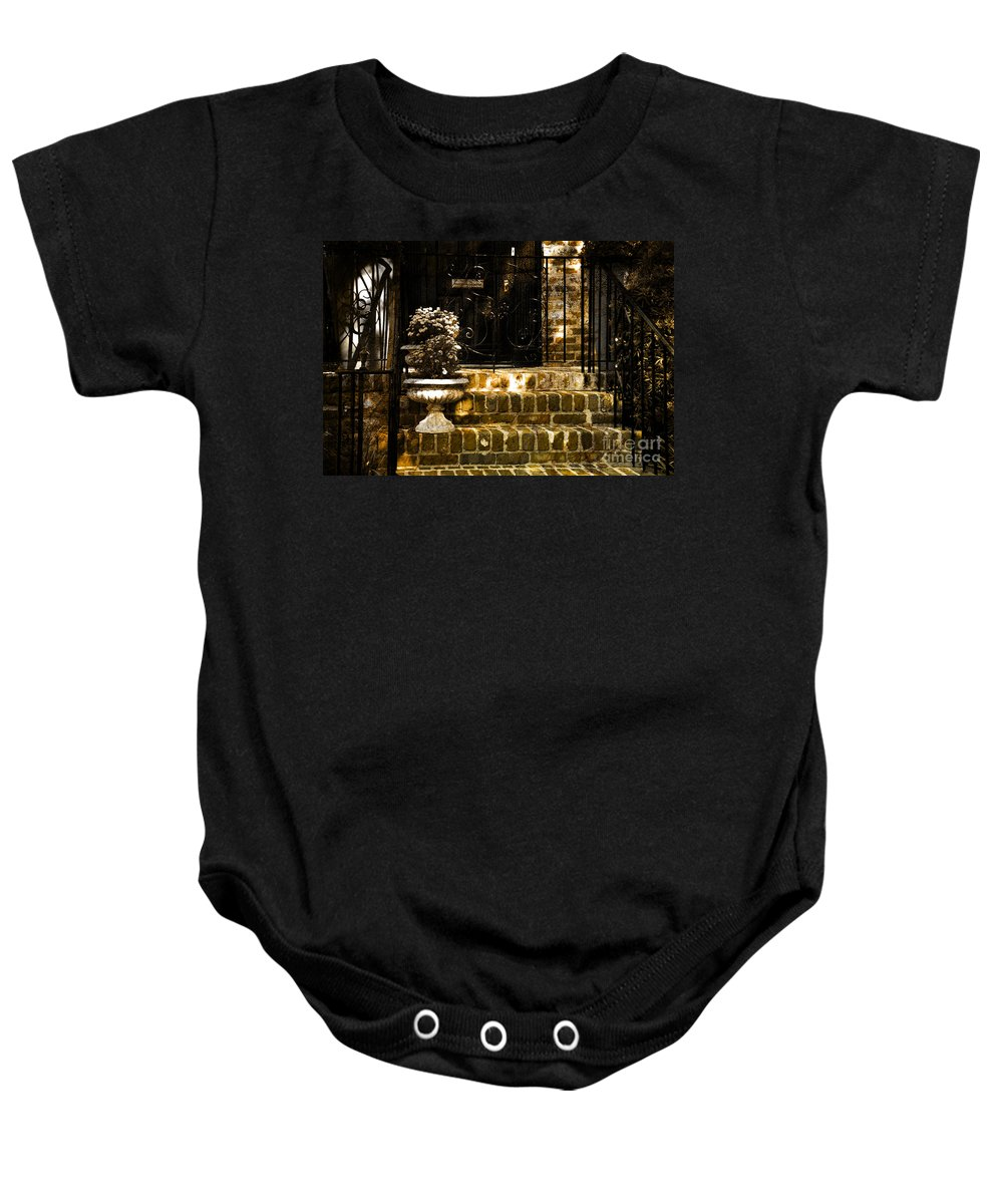 House Door Baby Onesie featuring the photograph A Warm Welcome by Susanne Van Hulst