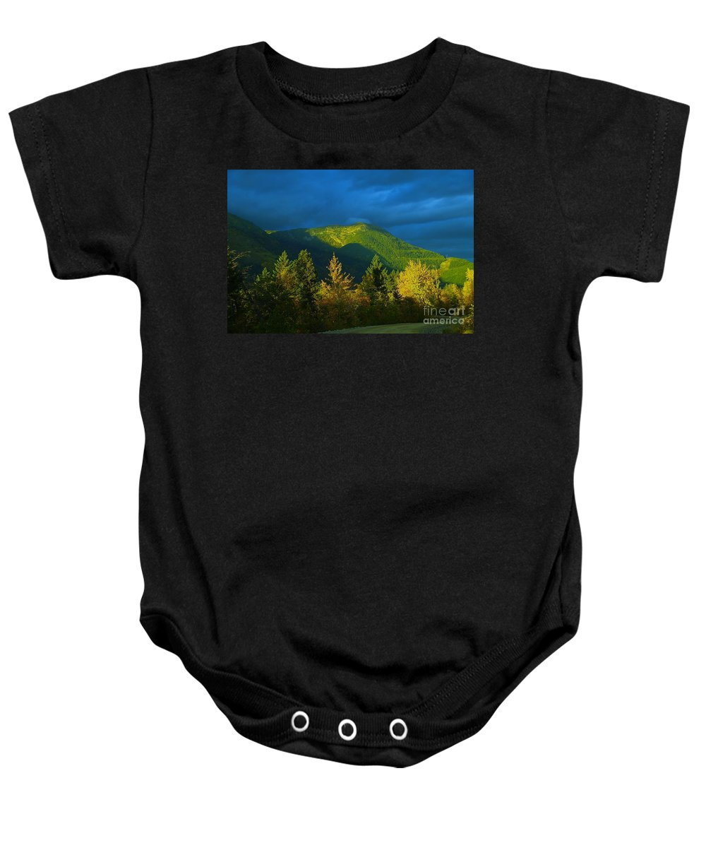 Autumn Baby Onesie featuring the photograph A Winding Autumn Road by Jeff Swan