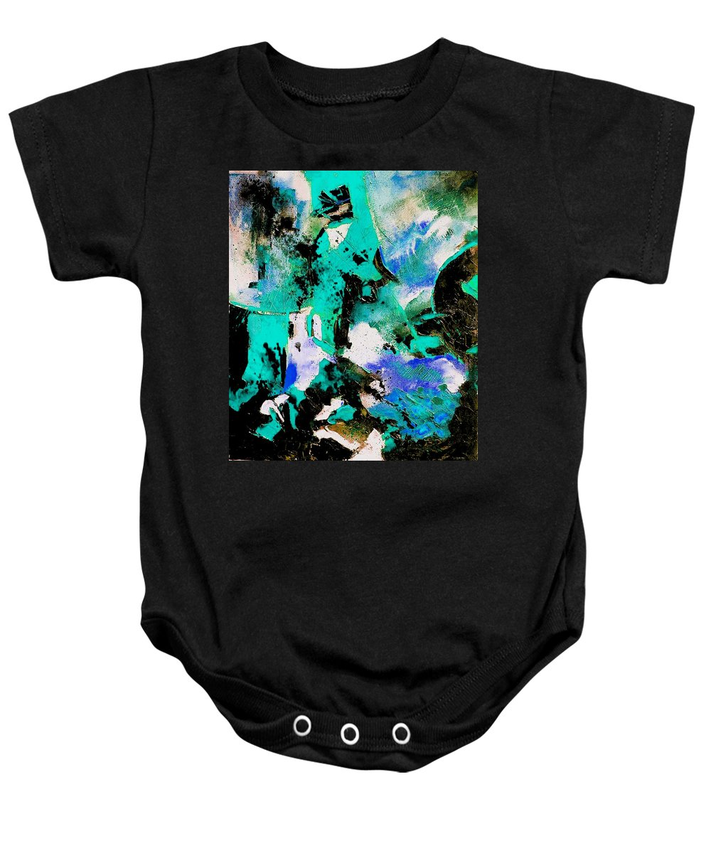 Abstract Baby Onesie featuring the painting Abstract 690506 by Pol Ledent
