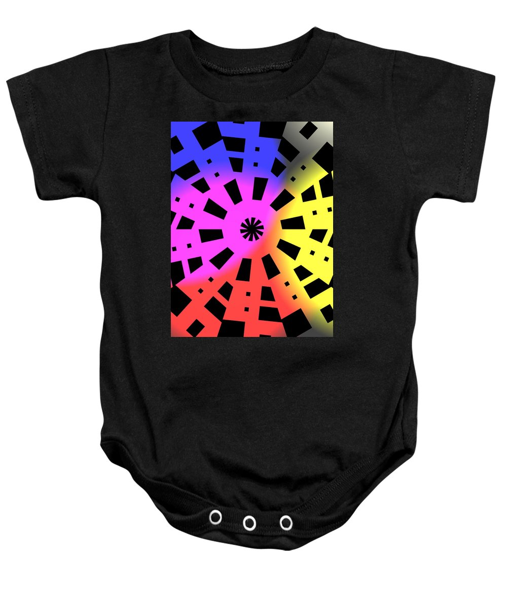 Form Forms Black White Triangle Geometric Abstract Art Minimalism Spiral Digital Painting Baby Onesie featuring the digital art Abstract Color Forms by Steve K