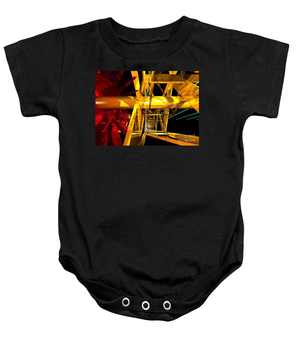 Abstract Baby Onesie featuring the digital art Abstract Tan 12 Imaginary Engine by Russell Kightley