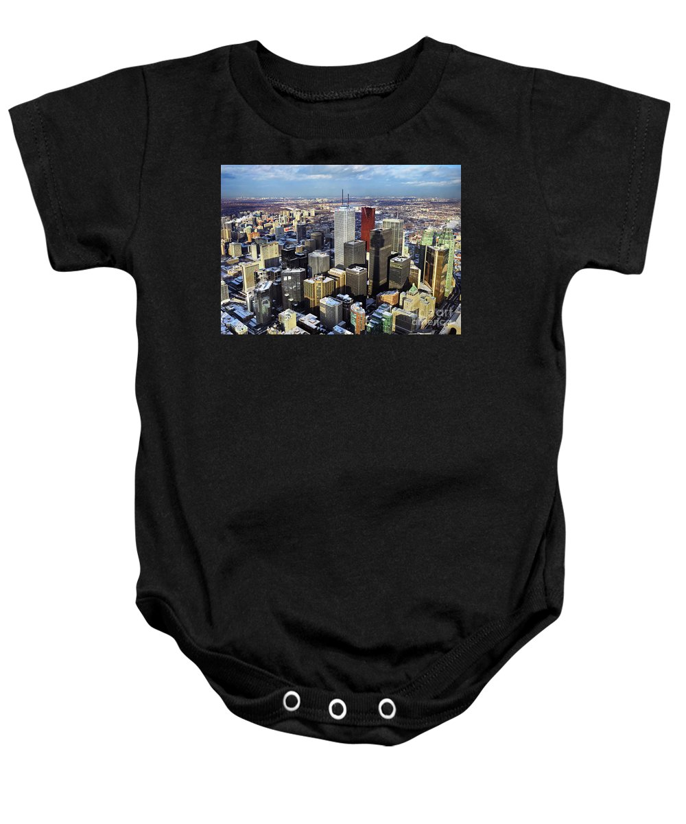 Aerial Baby Onesie featuring the photograph Aerial View From Cn Tower Toronto Ontario Canada by Oleksiy Maksymenko