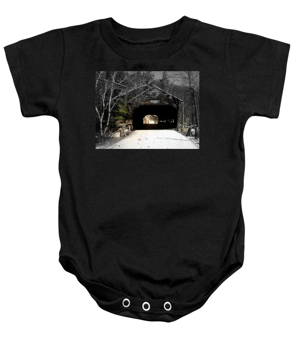 Covered Bridge Baby Onesie featuring the photograph Albany Covered Bridge by Marie Jamieson