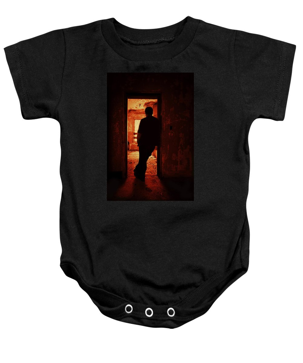 Male Baby Onesie featuring the photograph Alone In The Endzone by Evelina Kremsdorf
