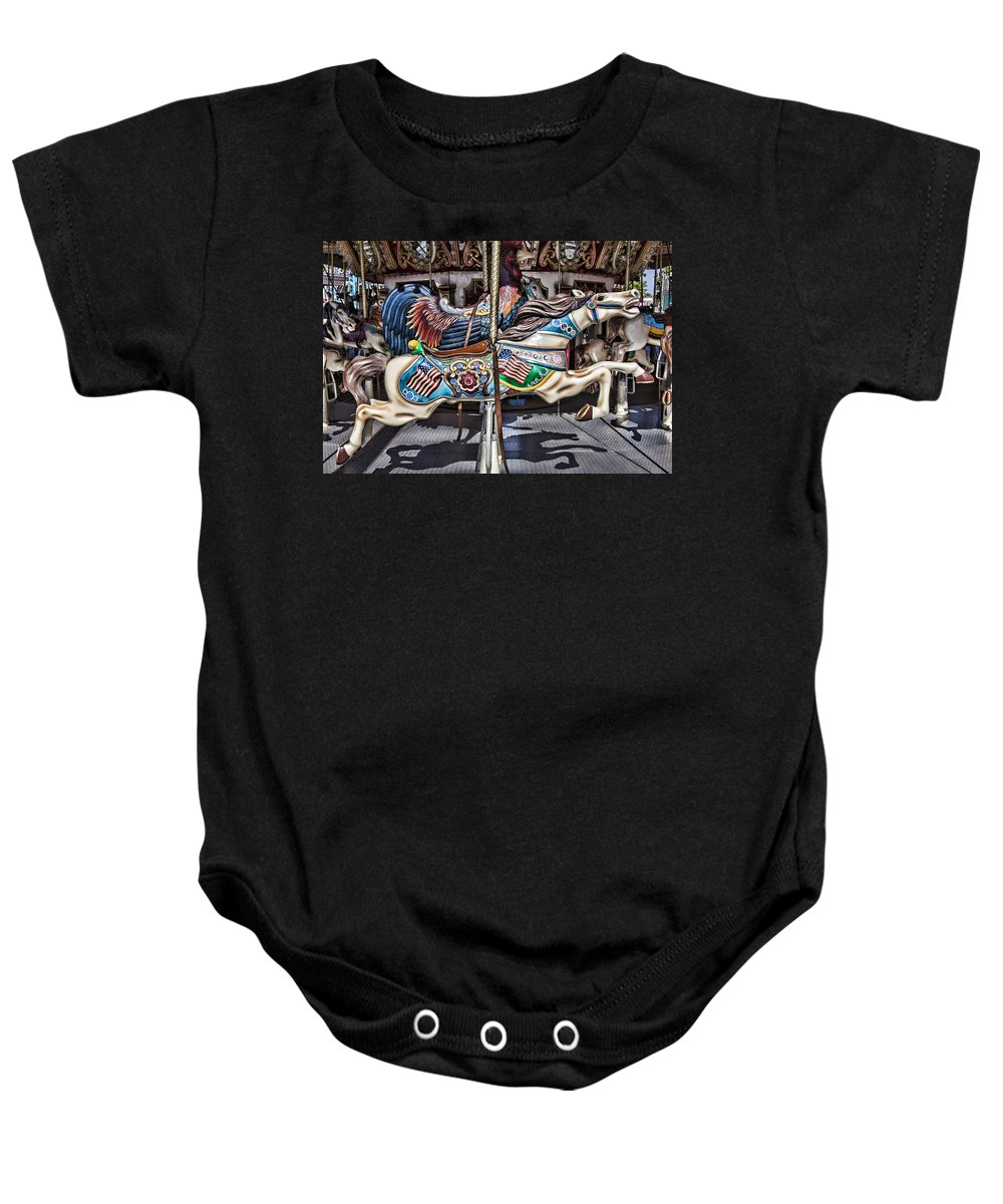 Wild Carrousel Horses Baby Onesie featuring the photograph American Carousel Horse by Garry Gay