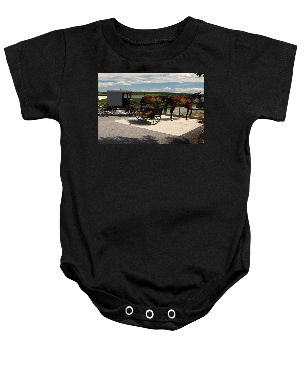 Enclosed Amish Buggy Baby Onesie featuring the photograph Amish Buggies by Sally Weigand