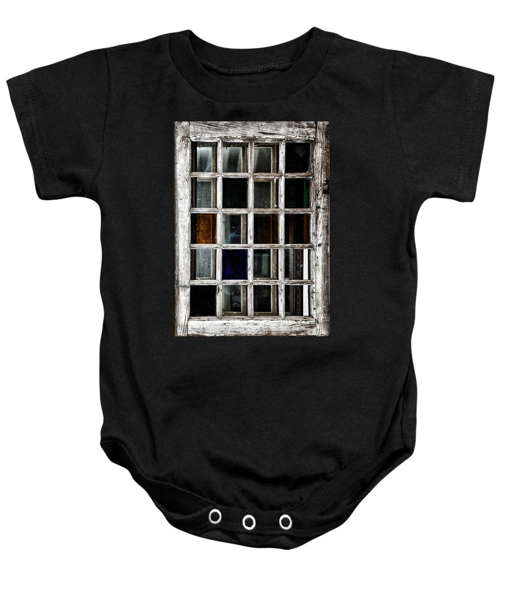 An Old Window Pane Baby Onesie featuring the photograph An Old Window Pane by Bill Cannon