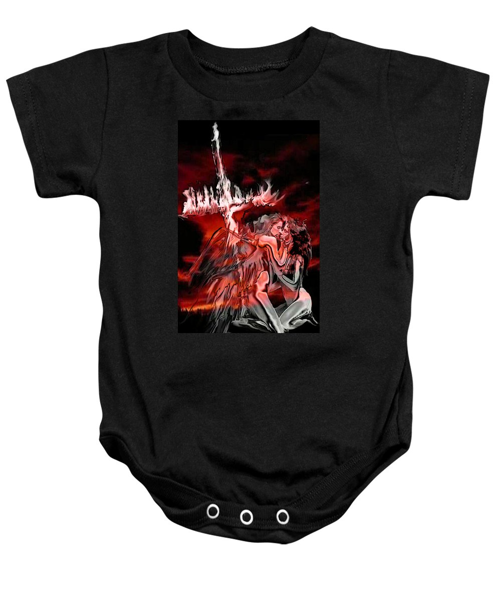 Angels Baby Onesie featuring the painting Angels Of Lust by Thomas Oliver