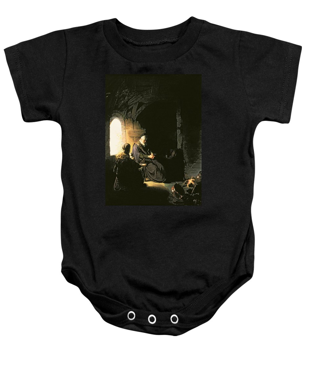 Interior; Window; Cooking; Fire; Sitting; Seated; Wife; Husband; Blindness; Book Of Tobit; Apocrypha; Story; Apocrypha; Jew; Jewish Baby Onesie featuring the painting Anna And The Blind Tobit by Rembrandt Harmensz van Rijn