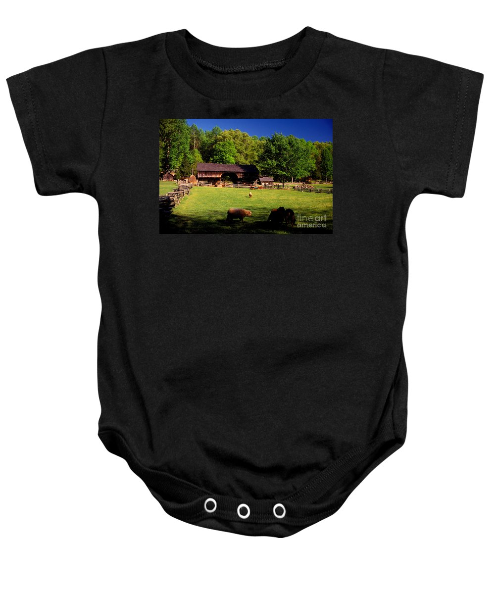Appalachians Baby Onesie featuring the photograph Appalachian Barn Yard by Paul W Faust - Impressions of Light