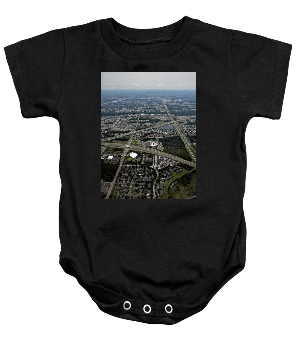 Orlando Baby Onesie featuring the photograph Ariel View Of Orlando Florida by Thomas Woolworth