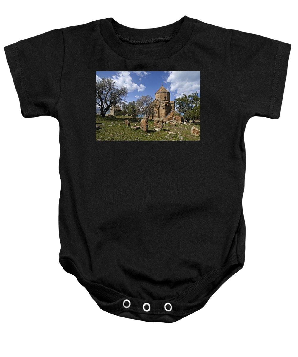 Turkey Baby Onesie featuring the photograph Armenian Church On Adkamar Island by Michele Burgess