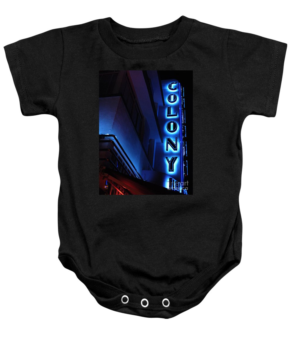 Neon Baby Onesie featuring the photograph Colony Hotel Art Deco District Miami 2 by Bob Christopher