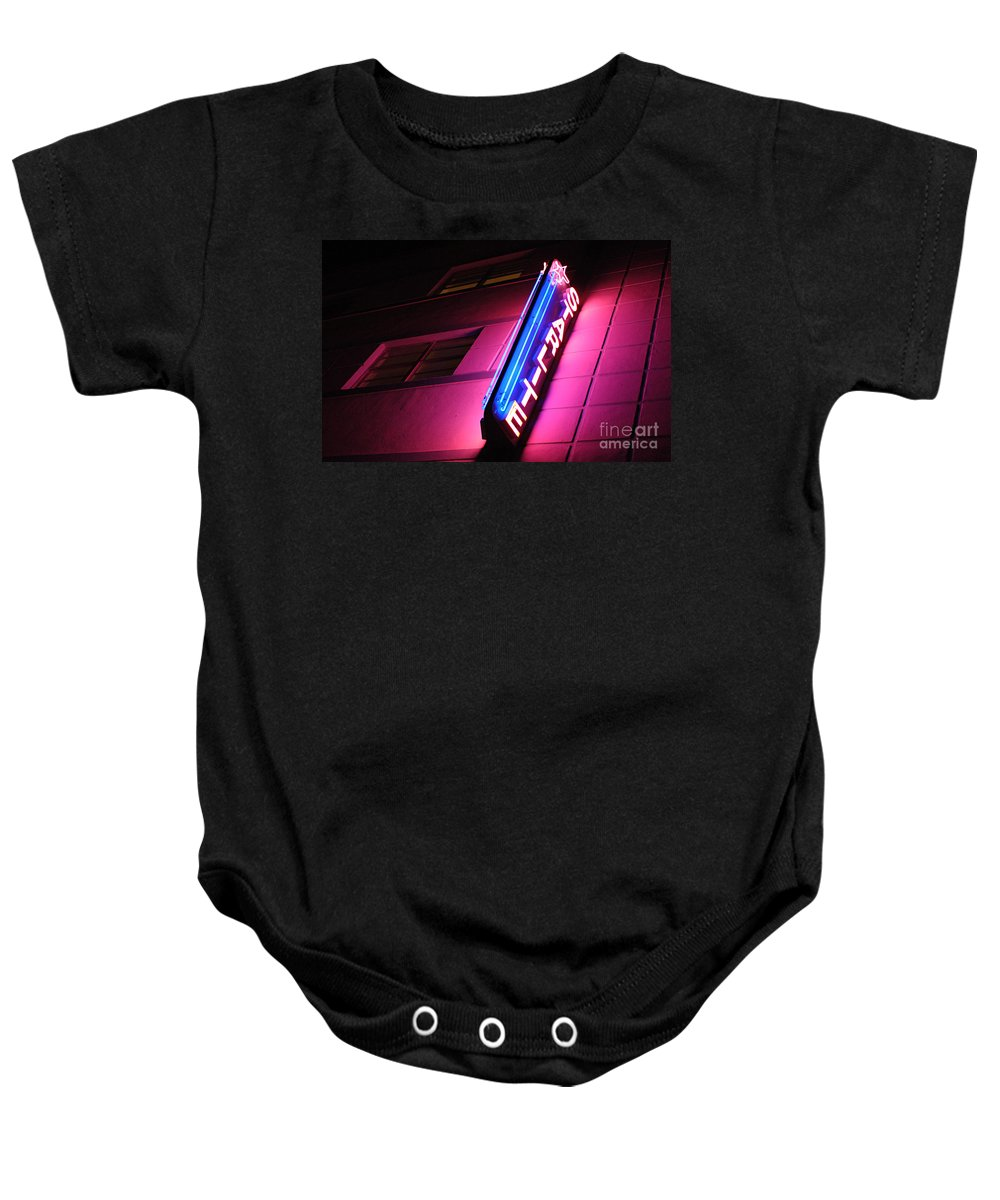 Neon Baby Onesie featuring the photograph Starlite Hotel Art Deco District Miami 4 by Bob Christopher