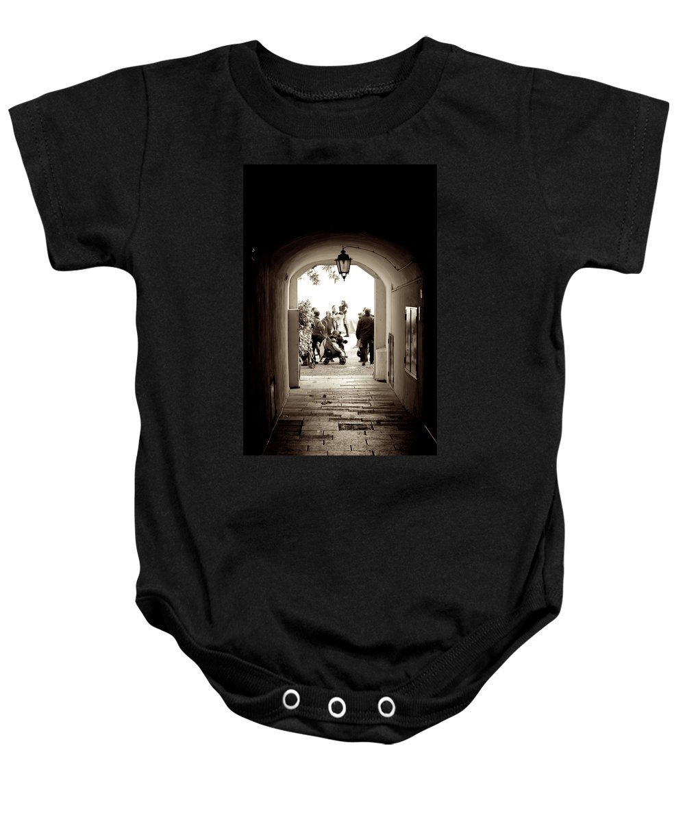 Garda Baby Onesie featuring the photograph At The End Of The Tunnel by Donato Iannuzzi