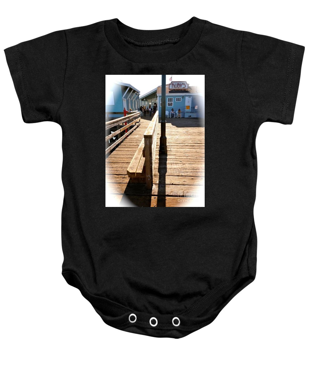 Pier Baby Onesie featuring the photograph At The Piers End by Customikes Fun Photography and Film Aka K Mikael Wallin