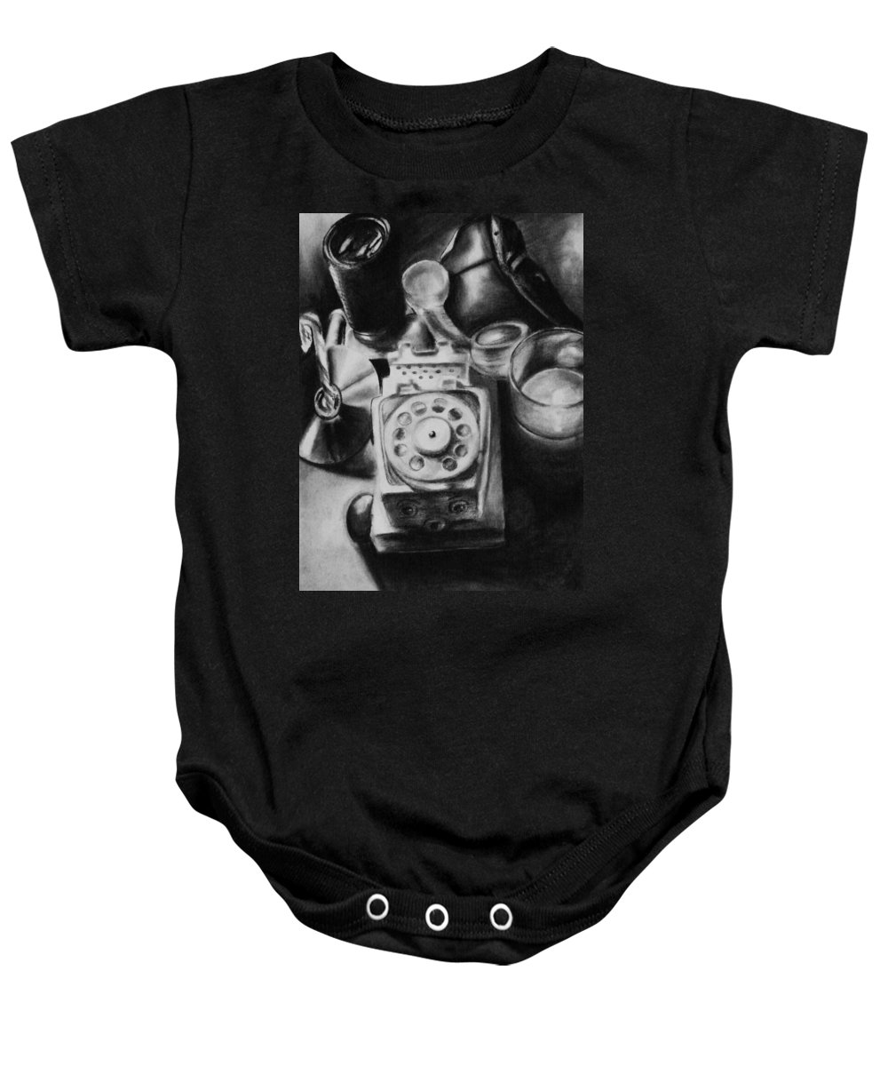 Still Life Baby Onesie featuring the drawing Autobiographical Still Life by Molly Picklesimer