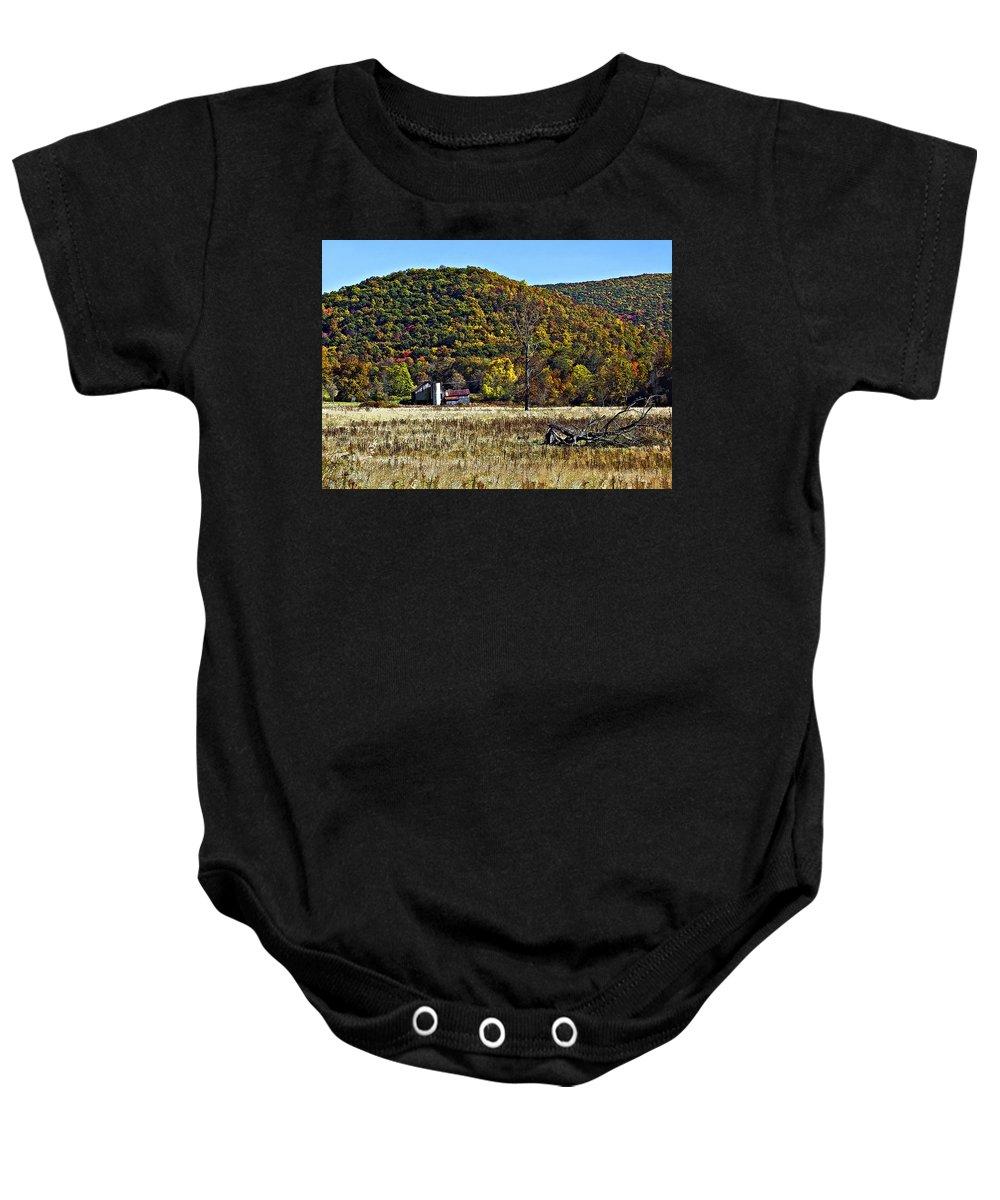 West Virginia Baby Onesie featuring the photograph Autumn Farm Painted by Steve Harrington
