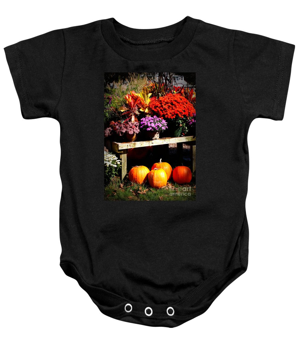 Autumn Baby Onesie featuring the photograph Autumn Market by Carol Groenen