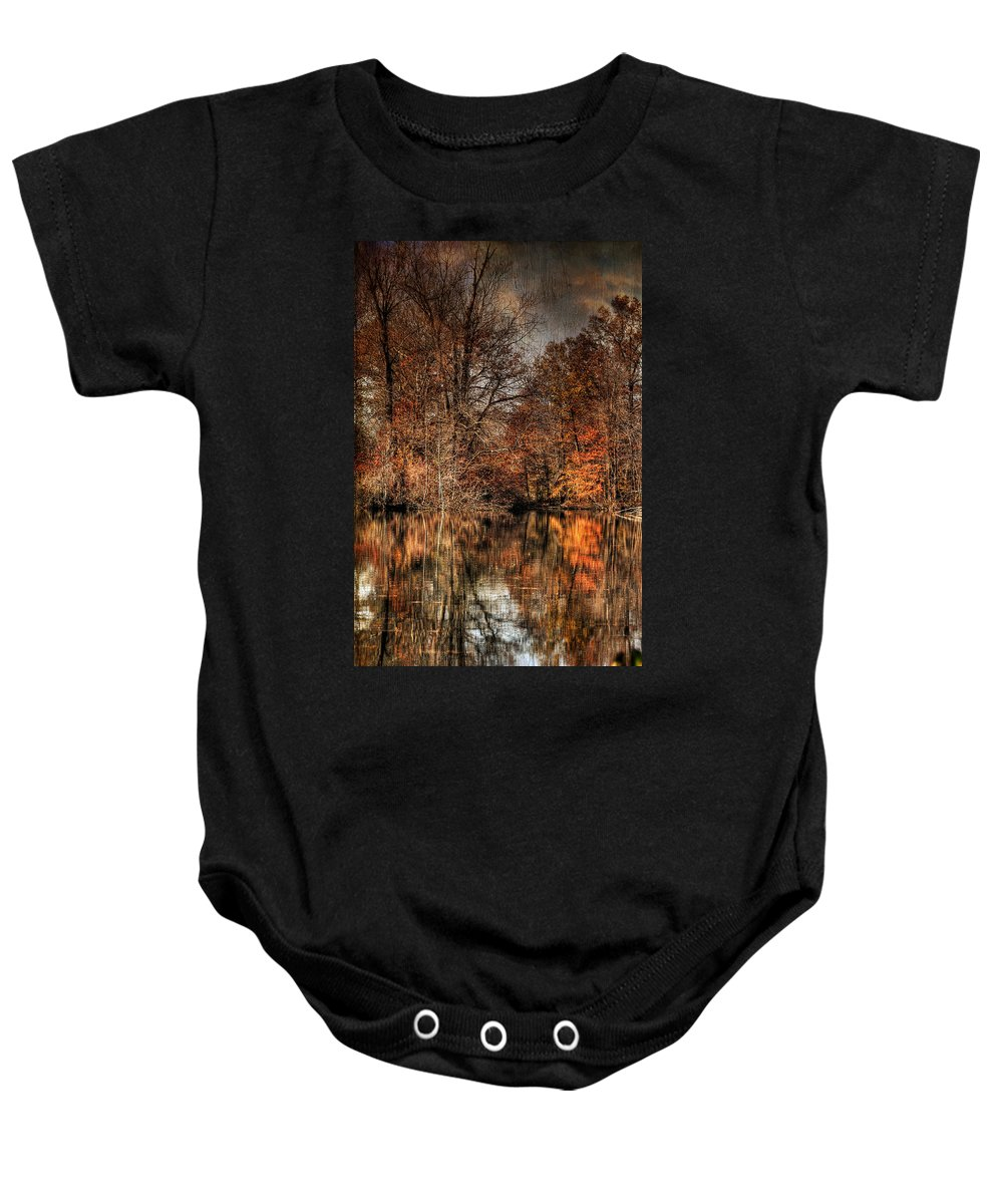 Season Baby Onesie featuring the photograph Autumn's End by Paul Ward