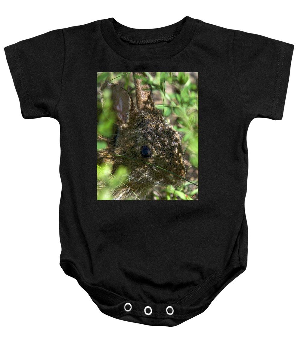 Summer Baby Onesie featuring the photograph Baby Eastern Cottontail Rabbit Dmam011 by Gerry Gantt