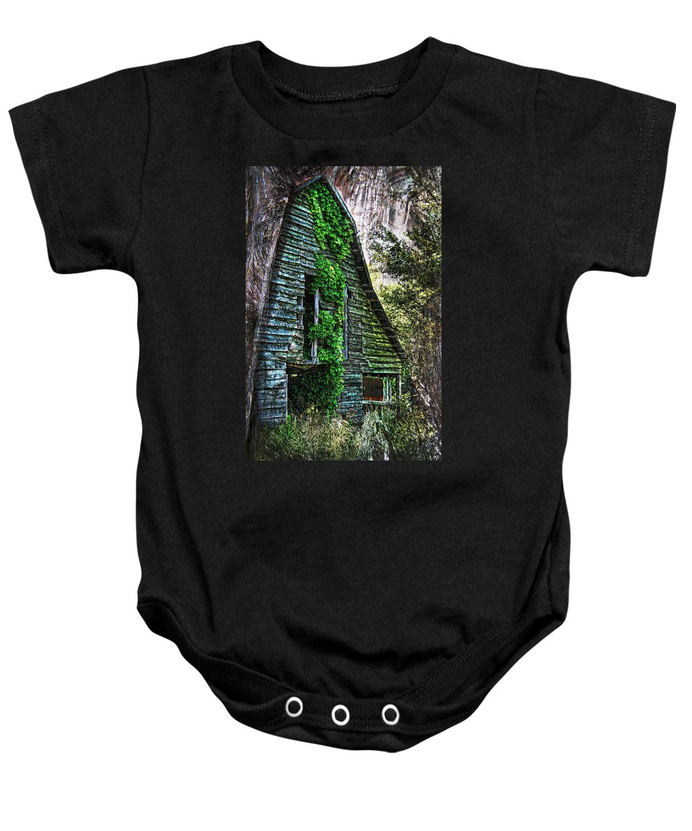 Barn Baby Onesie featuring the photograph Back To Nature - Crumbling Barn by Kathy Clark