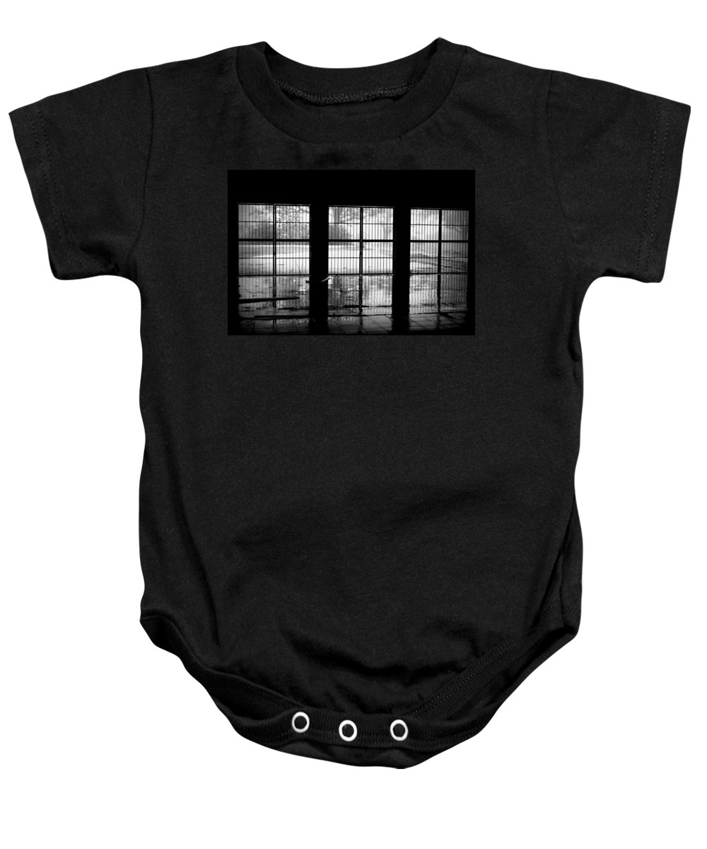 Linear Baby Onesie featuring the photograph Barred Reflection by Beth Gates-Sully