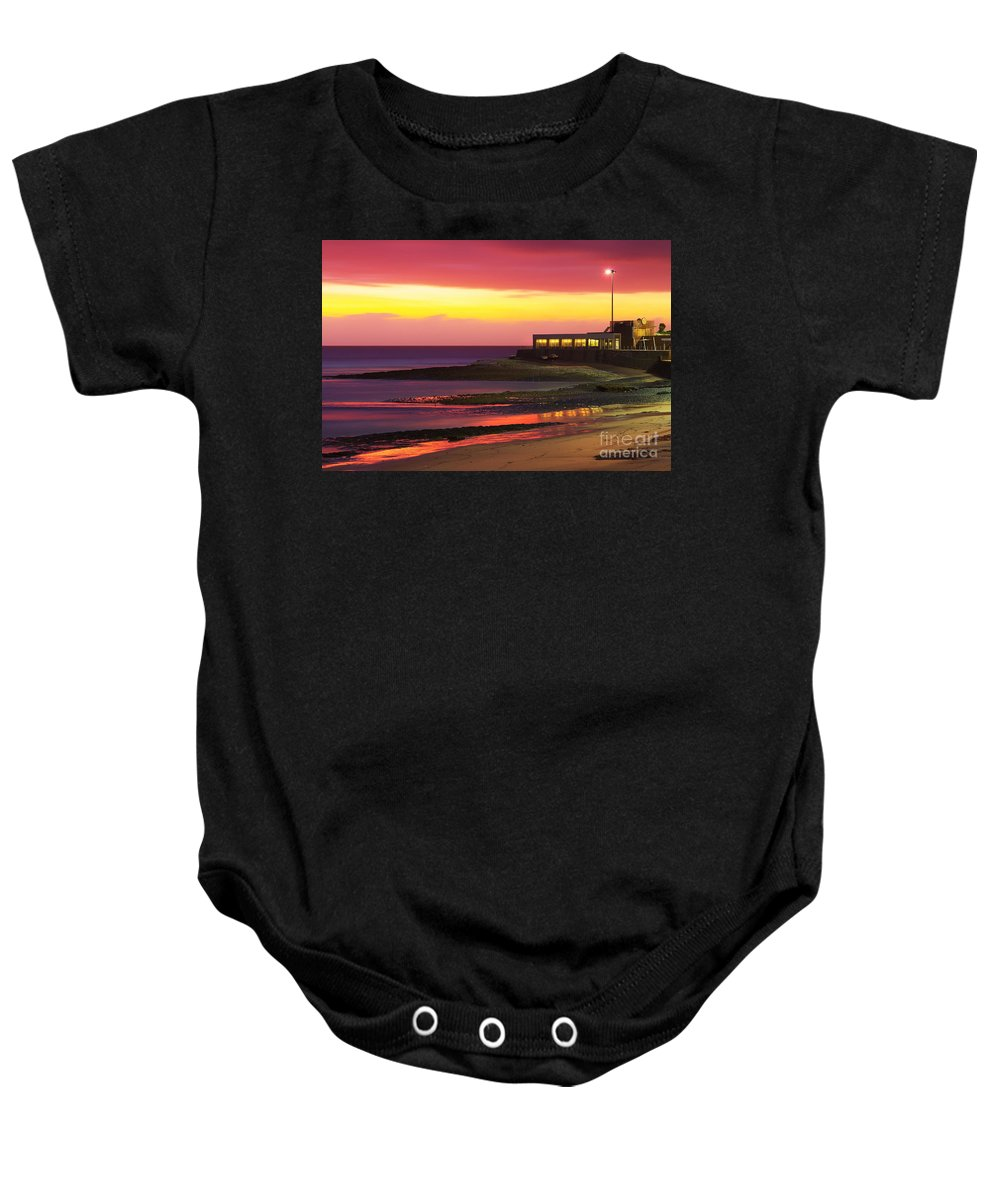 Architecture Baby Onesie featuring the photograph Beach At Sunset by Carlos Caetano