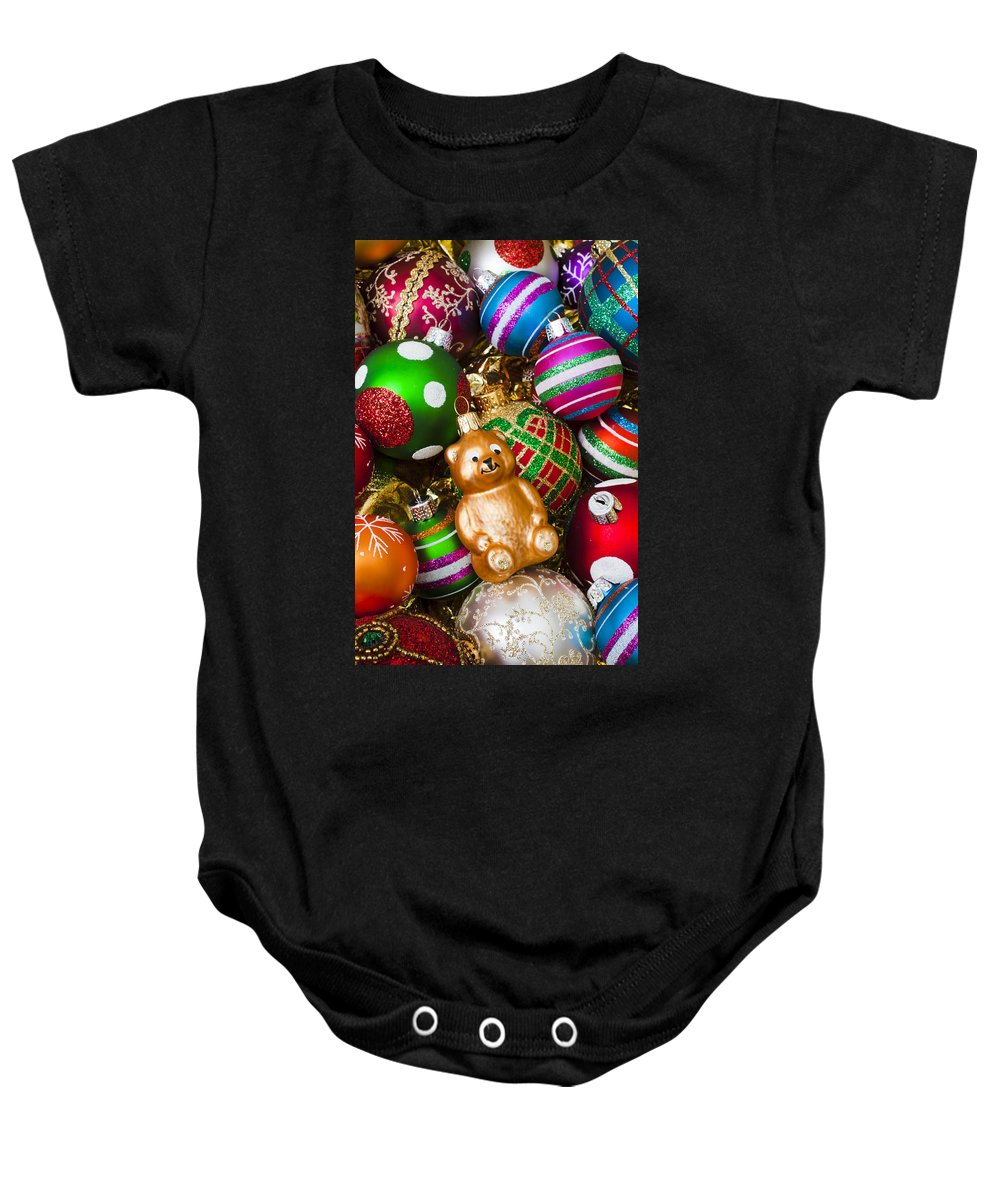 Bear Colorful Ornaments Baby Onesie featuring the photograph Bear Ornament by Garry Gay